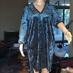 Zara Crush Velvet Tunic Dress M